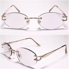 Light Tinted Lens Womens Oval Gold Rimless 2.75 Reading Glasses - MODEL2160