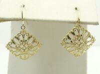 14K Yellow Gold Diamond Cut Filigree Hook Earrings 3/4 Inch 1.8g D1704-14