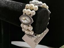 Fashion Bracelet Crystal And Faux Pearl Stretch with  beaded accents