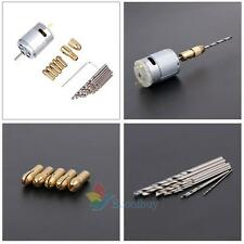Electric Hand Drill Mini Small 12V Motor and 0.5-3.0mm Twist Drill Rotary Set A
