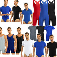 Men Wrestling Singlet Leotard Boxer One Piece Bodysuit Jumpsuit Underwear Briefs