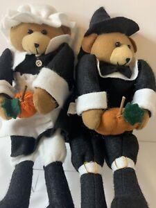 "Pilgrim Couple Sitting Bear Dolls 2000 Four Star  12"" Felt Thanksgiving Fall"