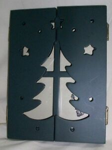 Hinged TABLETOP PICTURE FRAME CHRISTMAS TREE Cut Out STARS Green DAYTON HUDSON