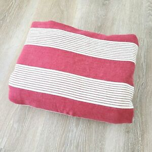Pottery Barn Red Ivory Wide Stripe Full Queen Duvet Ticking Linen French Country
