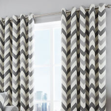 Eyelet Readymade Lined Curtains Chevron Grey