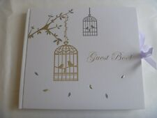 Guest Book - Silver Love Birdcage - Wedding, Engagement, 18th / 21st Christening