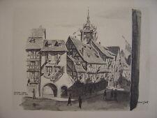 COLMAR libéré le 14 juillet 1945 Drapeaux  Superbe dessin Robert Gall en 1945