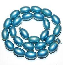 """W323f Blue Metallic 15mm Tapered Oval Barrel Wood Beads 15"""""""