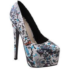 New Women Urban Camo Print Platform Pumps Stiletto High Heel White Green 5.5 - 9