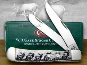 Case xx Elk White Pearl Trapper 1/600 Pocket Knives 6073WP Knife