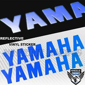 "PAIR 5.5"" FENDER FUEL TANK STICKER REFLECTIVE LOGO VINYL DECAL FOR YAMAHA BLUE"