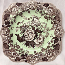"""SPODE BLUE ROOM GARDEN COLLECTION SQUARE FANCY SALAD PLATE 9"""" BROWN POPPY MINT"""