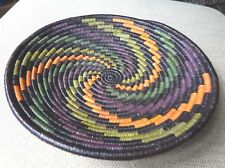 "Handmade Woven Multi Color Basket from Africa 10"" in diameter"