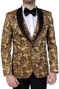 Jack Martin - Gold Paisley Printed Velvet Dinner Jacket / Tuxedo