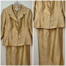 Talbots 100% Silk Skirt Outfit Champagne Suit Jacket Size 12 Skirt Size 10