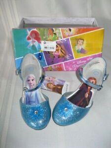 New in Box Disney Frozen 2 Girls Blue Glitter Dress Shoes Size 12 Anna & Elsa