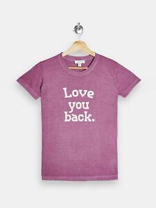 Topshop 'Love You Back' slogan t-shirt tee (plum purple, size L) short sleeve