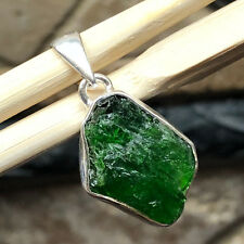 Genuine Russian Green Diopside 925 Solid Sterling Silver Cluster Pendant 30mm