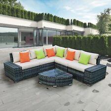 ALEKO Rattan 6-Piece Patio Outdoor Sectional Furniture, Coffee Table, Pillows