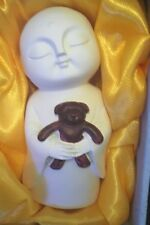 Jizo and Teddy Bear - Ivory and Brown - approx 75mm - New In Box