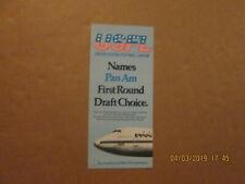 USFL Oakland Invaders Vintage Defunct Circa 1983 Pan Am Football Card Schedule