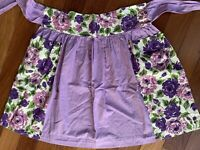 Vintage Handmade Floral Half Apron Pockets Purples Green Spring Farm Chore S M L