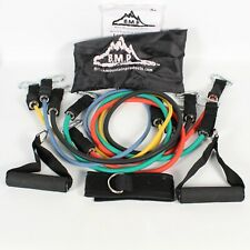BLACK MOUNTAIN PRODUCTS BMP RESISTANCE BAND SET W/HANDLES, ANKLE STRAP & BAG