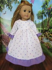 """homemade 18"""" american girl/madame alexander purple polka nightgown doll clothes"""