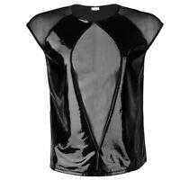 Herren Mesh Wetlook Hemd Tops T-Shirt Kurzarm Spleißen Netzhemd Bodybuilding