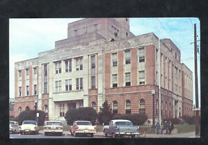 MERIDIAN MISSISSIPPI LAUDERDALE COUNTY COURTHOUSE POSTCARD 1956 PONTIAC CARS