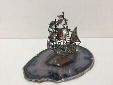 Vintage Sterling Silver Miniature Ship w/Polished Agate Slice Natural Stone Base