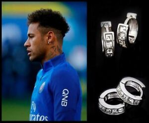Men's/Boy's: NEYMAR - Brazil - PSG 18ct White Gold, 5mm Diamond Huggie Earrings