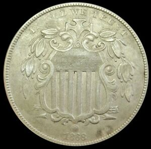 1868 UNITED STATES SHIELD NICKEL COIN ABOUT UNCIRCULATED CONDITION