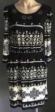 NWOT DERHY Black,Cream & Blue Tile Print Elasticised Waist Dress Size S