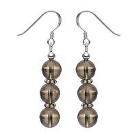 Ohrringe Ohrhänger aus echtem Rauchquarz & 925 Silber, braun, Ohrschmuck Damen