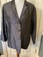 Eileen Fisher Textured Silk 3-Button Front Jacket Size Large Gray
