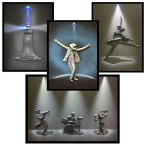 Vintage Light-Up 3D Canvas Pictures: 4 Styles (Art Wall Drawing Frame Photo)