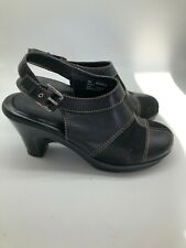 Tommy Hilfiger Mable Patchwork Clogs Mules Heeled Sandels Leather Suede Buckle 9