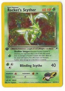 1st Edition Rocket's Scyther - 13/132 Pokemon Card Gym LP/MP WOTC HOLO RARE
