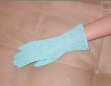 1940's Vintage Light-Blue Crochet Dress Gloves
