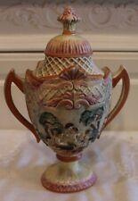 Vtg Crown Mark CAPODIMONTE Italian Pottery with 2 Handle/ Lid URN/JAR w Cherubs