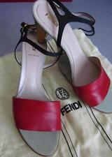 FENDI Olive Faille Red & Black Double Ankle Strap SZ 9/39 RT $615 NEW/DUSTBAG