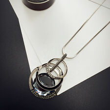 Multi-layer crystal pendant long necklace UK seller
