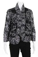 Joseph Ribkoff Womens Long Sleeve Woven Open Bolero Blazer Black Blue Size Large
