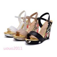 Women Floral Wedge High Heel Platform Slingbacks Open Toe Sandals Boho Shoes New