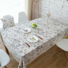Retro Peony Printed Cotton Linen Lace Tablecloth  Table Cloth Cover Home Decor