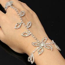 Silver Leaves Rhinestone Bridal Bracelet Hand Harness Slave Chain Panja Ring