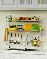 Over The Sink Dish Drying Rack,  2 Tier Dish Drainer Shelf Large Silver