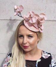 Pink Nude Beige Orchid Flower Fascinator Hat Wedding Hair Clip Races Vtg 3084