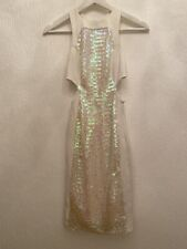 OFF WHITE SEQUIN DRESS 4 ASOS PETITE SPARKLY PARTY SUMMER EVENING SMART CHIC FIT